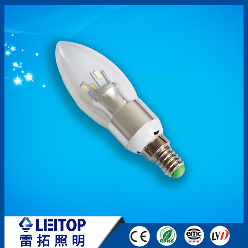 glass body favourable price E14/E27 led bulb 3w Trigeminal lamp with high lumens nice price used for indoor
