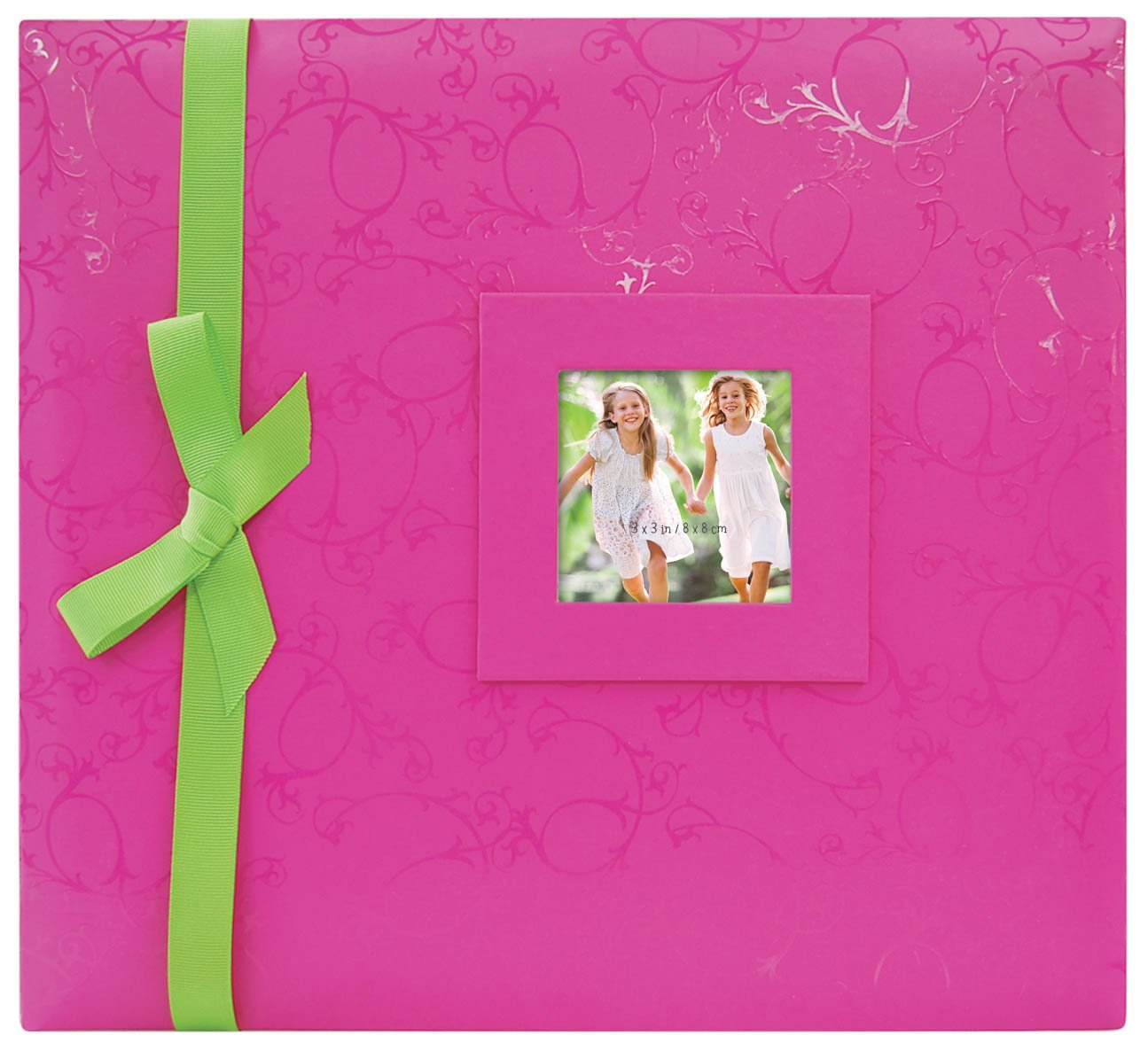 MCS MBI 13.5x12.5 Inch Embossed Gloss Brights Scrapbook Album with 12x12 Inch Pages, Pink (866920)