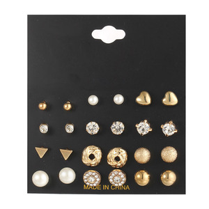 Wholesale Fashion Jewelry 12 Pairs Stud Earrings Set Gold Plated Cubic Zirconia Diamond Pearl Stud Earrings