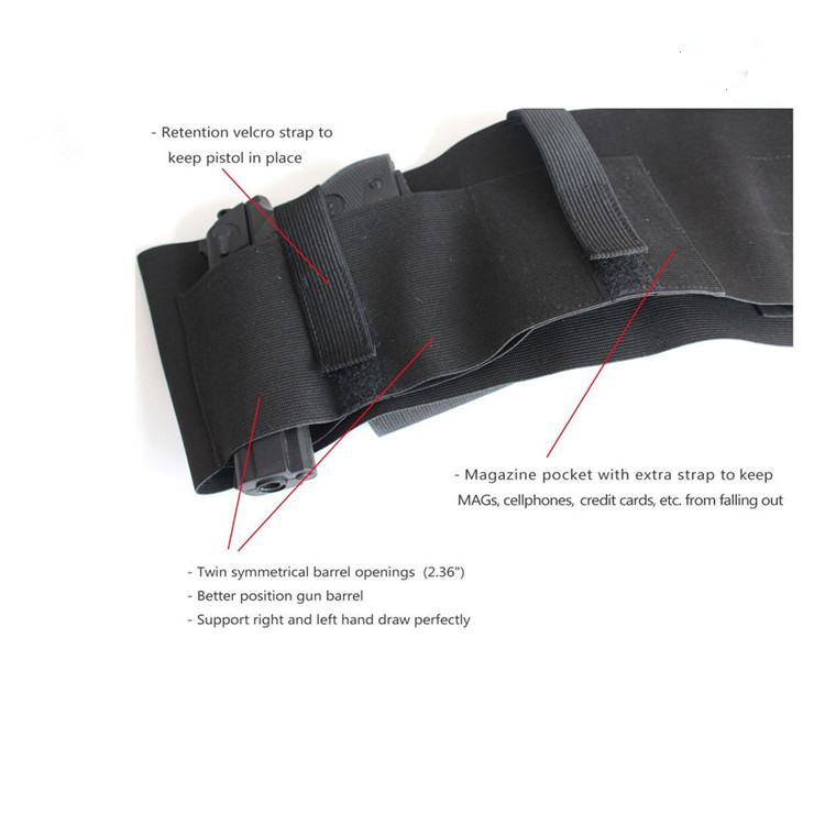 Belly Band Gun Holster Carry with Magazine Pocket Elastic Straps for Women Men Fits Glock