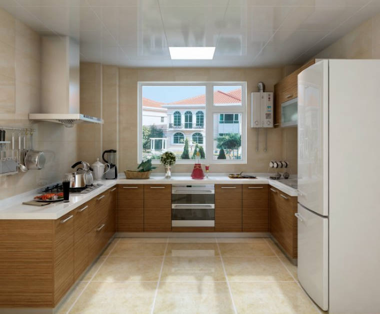 U Shape Kitchen Cabinets For Small Space With Simple Design And