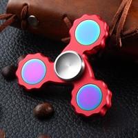 Custom bearing edc torqbar colourful tri spinner aluminum fidget toy