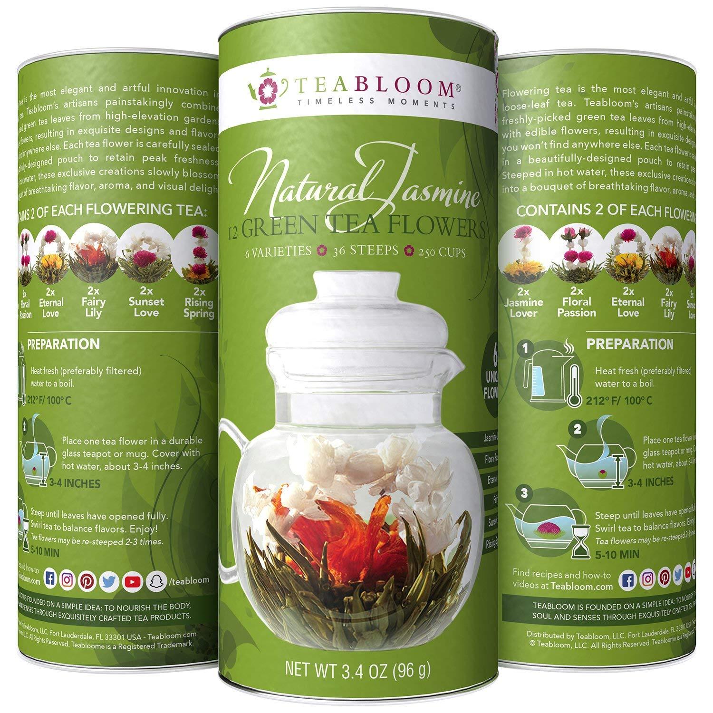 Teabloom Natural Blooming Tea – Hand Tied Green Tea Leaves + Jasmine Blossoms Flowering Tea Creations – Blooming Tea Gift Set – 12-Pack, 36 Steeps, Makes 250 Cups