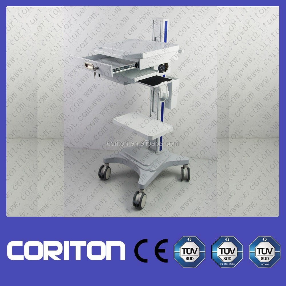 Medical working station trolley for doctor Doctor ward inspection medical trolley hydraulic laptop computer cart