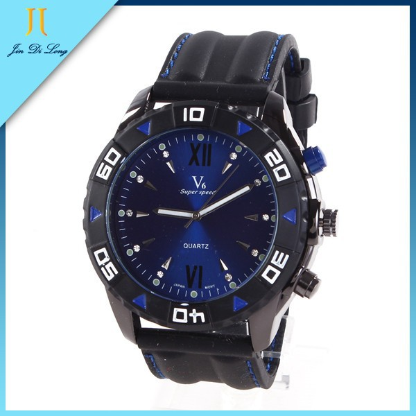 High Quality Japan Movement Silicone Rotating Big Dial Watches for Men
