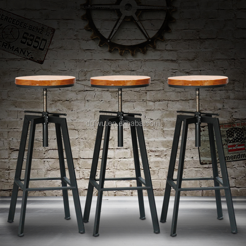 Oak Solid Wood Tractor Counter Bar Stool From China Factory