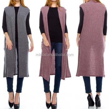 97edd7117769 Stylish Girls Sweater Cardigan Women Stripe Print Sleeveless ...
