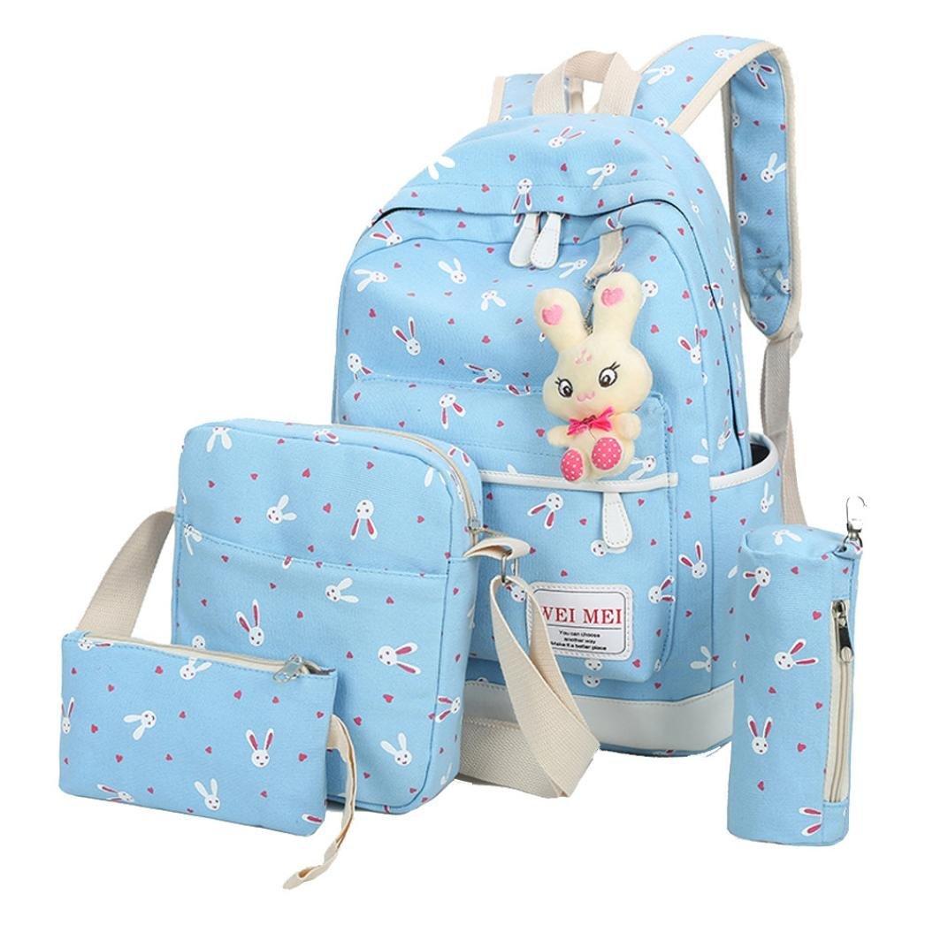 Women Girl Bag 4 Sets,Travel School Backpack+Crossbody Shoulder Bag+Tote Purse Handbag+Pencil Case (Sky Blue)