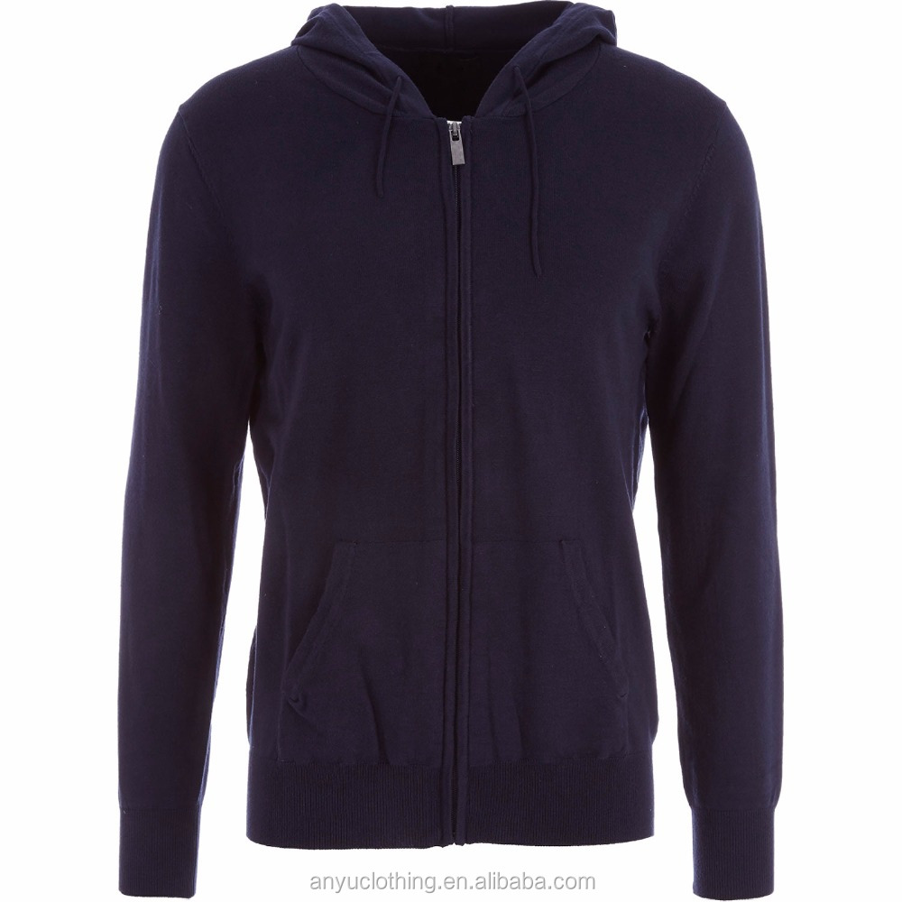 Fashion Mens' Casual Navy Fine Knit Zipped Hoody with Custom Tags