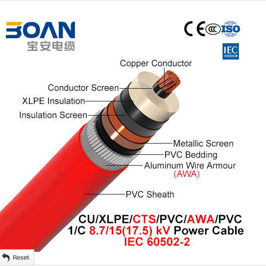 Middle volatge power cable 8.7/15kv single core IEC 60502-2