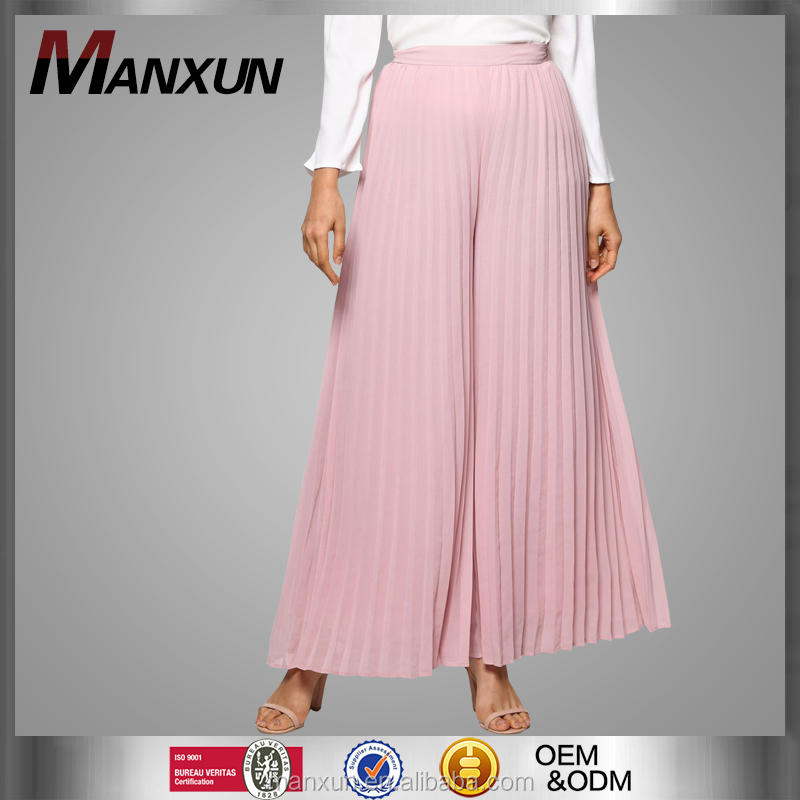 Muslim Women Wide Leg Flare Pants Ladies Chiffon Pleated Trousers Casual Comfortable for Wearing