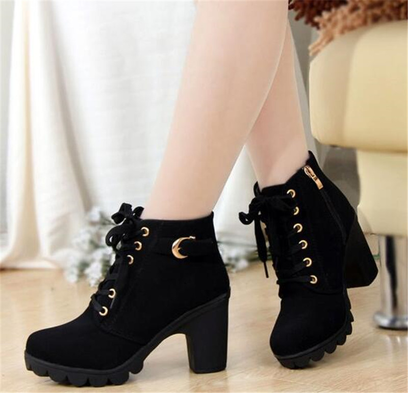 Dropshipping 2017 New Autumn Winter Women <strong>Boots</strong> High Quality Solid Lace-up European Ladies shoes PU Leather Fashion <strong>Boots</strong>