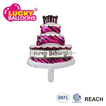 Foil Mylar Mini Size Happy Birthday Cake Balloon Helium For Party Decoration
