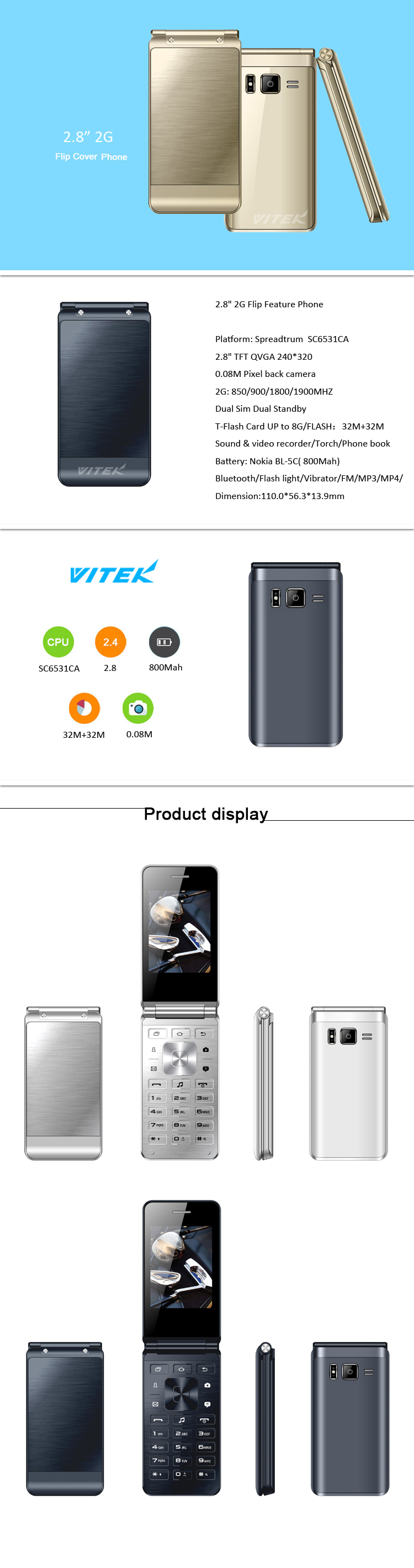 2.4 2.8 Dual Screen Mini Cute Flip Phone, Slim Mobile Dual Sim Card 2G 3G Flip Phone, Unlocked Flip Mobiles Cell Phones
