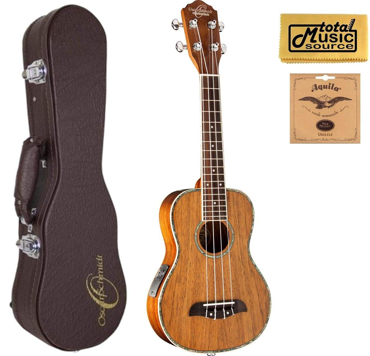 Oscar Schmidt All Koa Concert Acoustic/Electric Ukulele, EXCLUSIVE, OU5E, Gro...