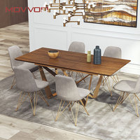 Dining Room Furniture 6 Chairs Modern Style Dining Table Set With Butterfly Stainless steel Golden Base