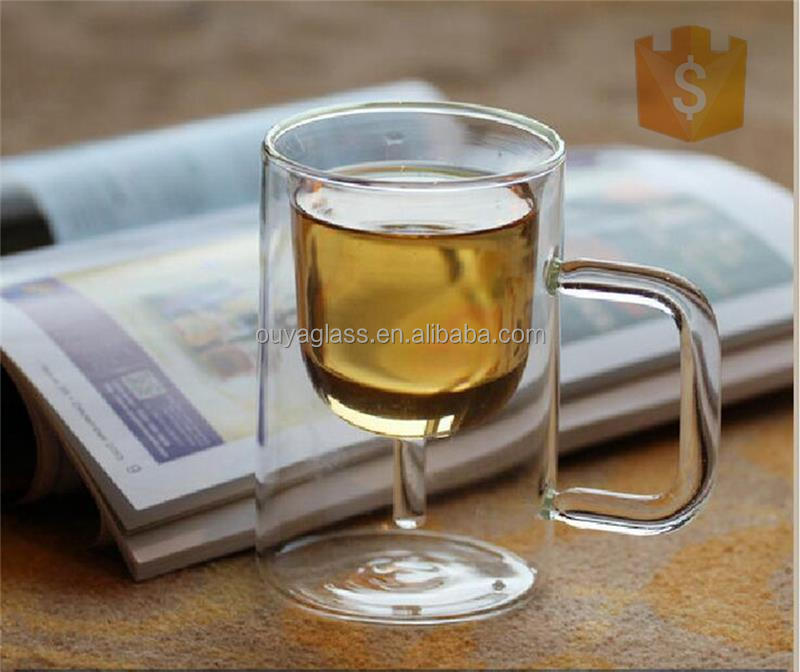 borosilicate double wall galss cup bulk tea cups and saucers cheap double wall glass coffee cup