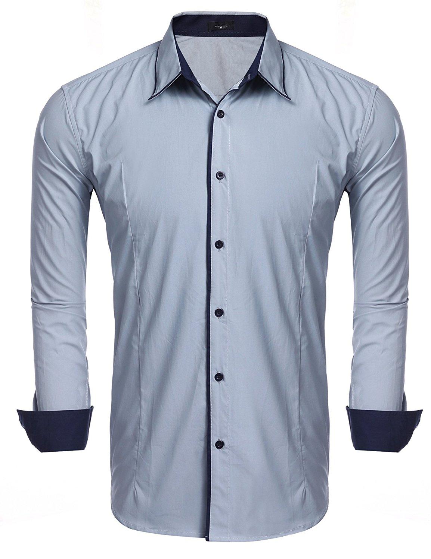 Qiangjinjiu Mens Casual Slim Fit Striped Shirts Dress Shirts Button Down Long Sleeve Shirts