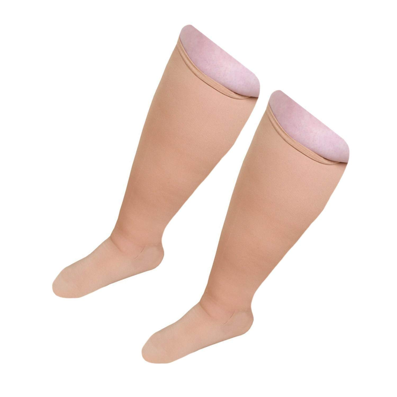Starmace Extra Big Wide Full Plus Size Calves 20-30 mmHg Compression Knee High Length Foot Ankles Unisex Socks (Beige Closed Toe, XXX-Wide)