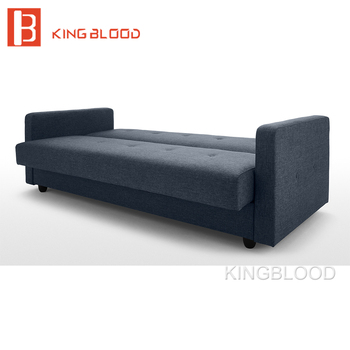 Latest Living Room Elegant Couches Navy Blue Fabric Sofa Bed Design