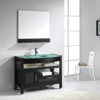Tempered Glass Top Single Sink Simple Design Bathroom Vanity with Mirror