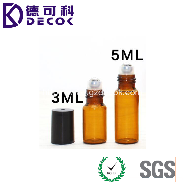 3ml/5ml/10ml amber oil essencial glass bottle with metal roll on