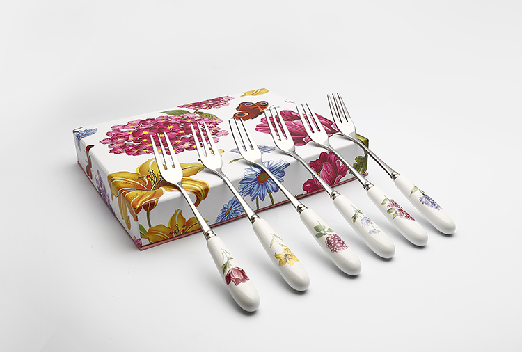 Spoon and fork with porcelain handle  ceramic cutlery set for gift