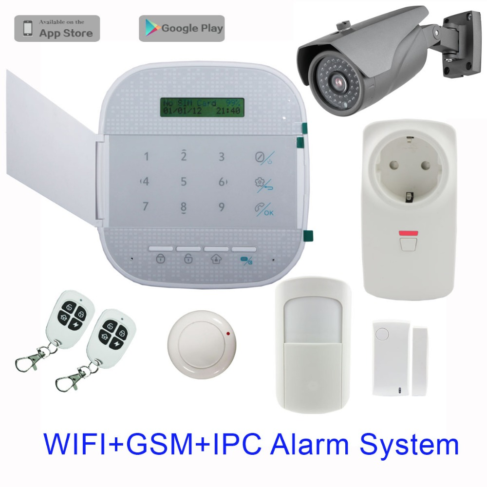 Hot GSM WIFI Alarm System IP camera with APP google play store