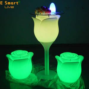 garden balcony leisure plastic rose led furniture bar table with RGB lighting