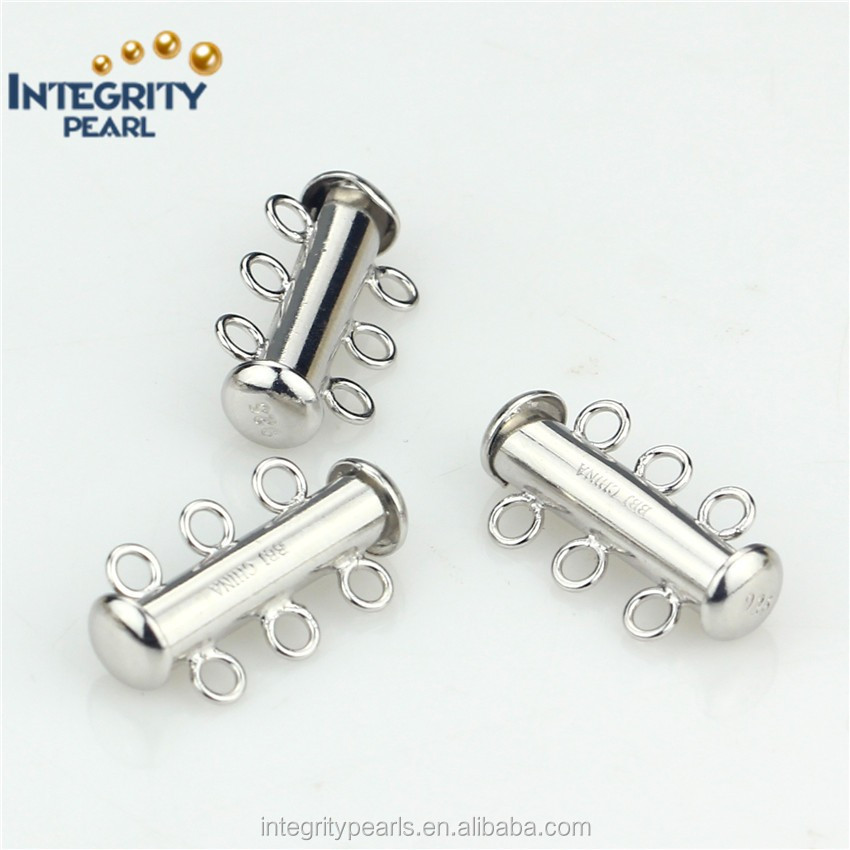 Jewelry accessory necacklace clasp bracelet clasp 925 sterling silver 3 rows tube locking clasp