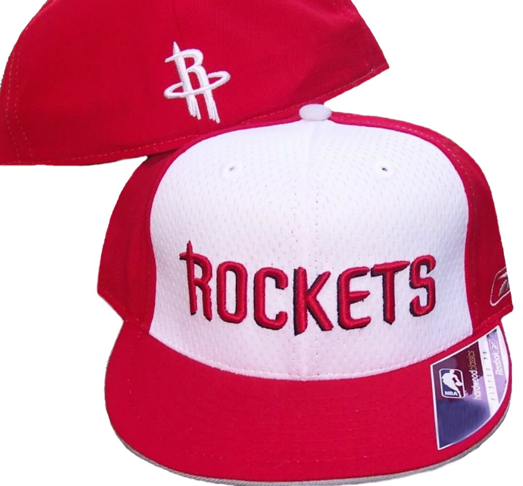16a1314bfe5 Get Quotations · Houston Rockets Basketball Fitted Hat Size 7 1 2 Authentic  Hardwood Classics 2 Tone Cap