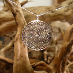 New products flower of life pendants,wholesale metal 40mm silver pendants