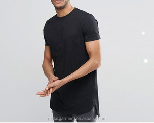 MS-1841 2017 Men Fish Tail Cuts Elongated T Shirts Curved Bottom Elongated T shirt