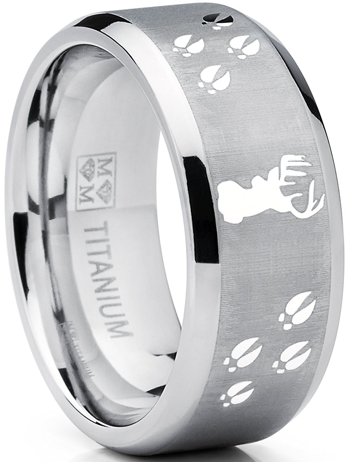 Thorsten Wolf Track Prints Animal Tracks Wolf Print Flat Tungsten Ring 12mm Wide Wedding Band from Roy Rose Jewelry