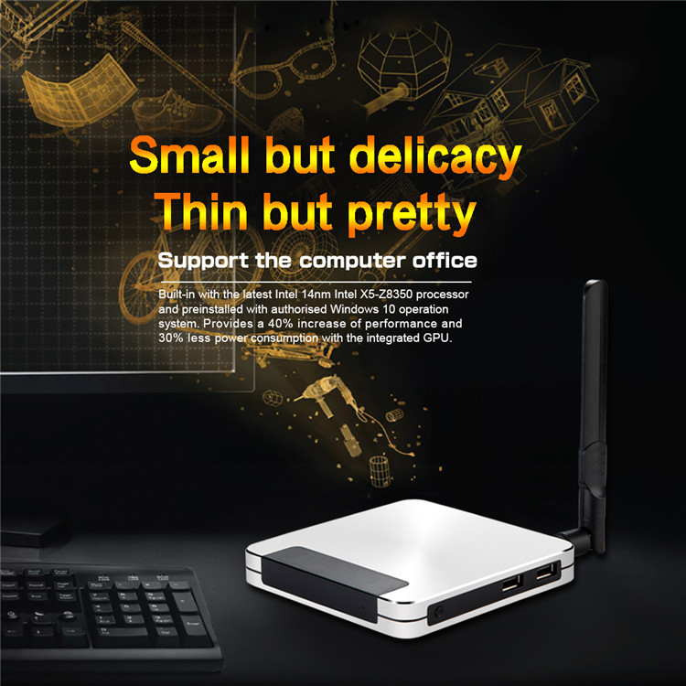 win 10 system mini pc T9 Z8350 4G 32G with full hd 4k internet , win, android tv box