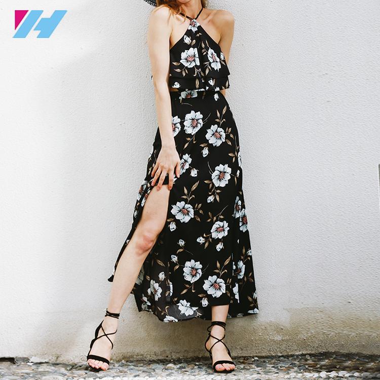 2019 夏ロングドレス女性の衣服ハイトスプリット花自由奔放に生きるビーチワンピースマキシドレス