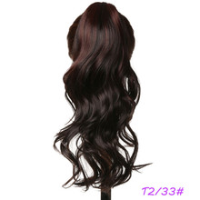 Fashion Style Two Tone Color Brown and Auburn Color Synthetic Hair Claw Clip Ponytails for Women