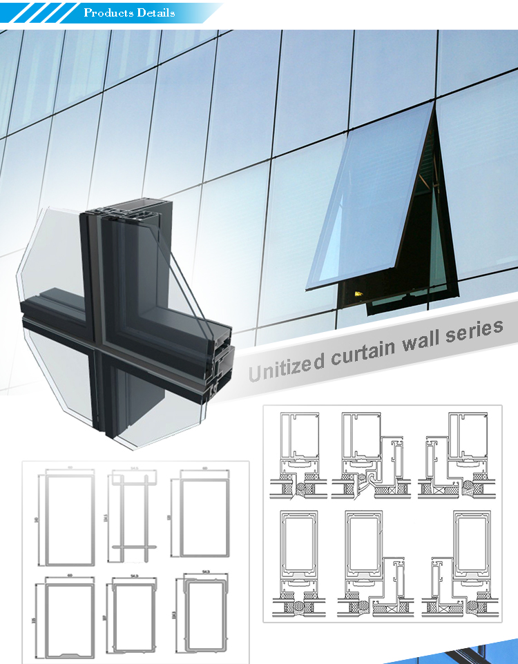 Economical System  2 INx 4-1/4 IN to 7-3/4 IN  Field Glazed Shear Block Construction Curtainwall
