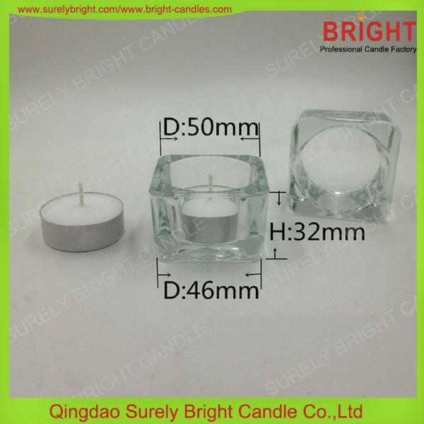 White Unscented Tea Light Candle In Crystal Glass Holders