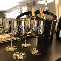 MOET & CHANDON CHAMPAGNE Golden Acrylic/Plastic Champagne Wine Glasses