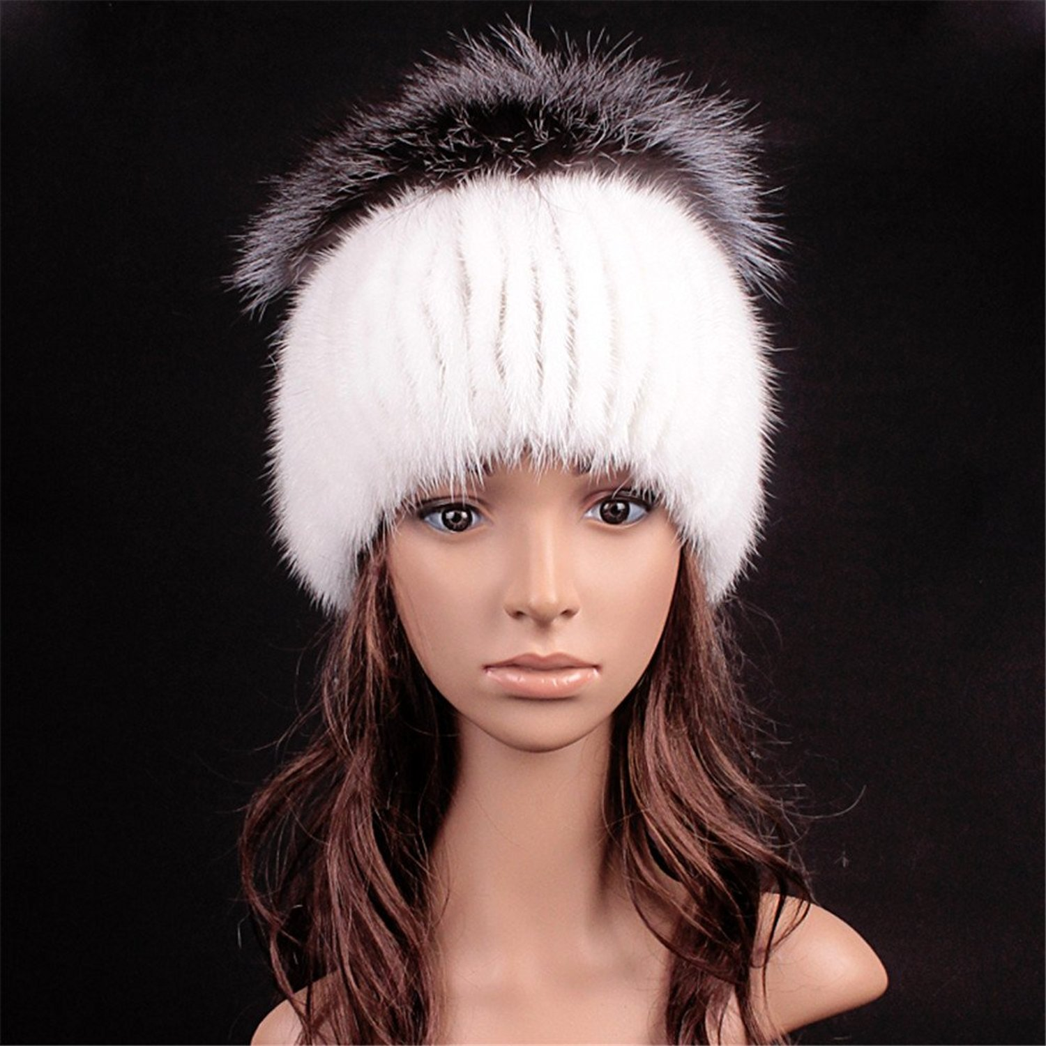 598a7ac4d0e Roniky Winter Beanie Womens Mink Fur Knitted Hat with Silver Fox Fur Top  Pom Poms