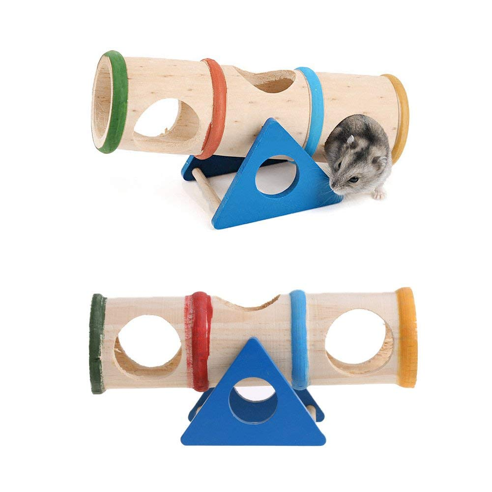 NNDA CO pet toys,Wooden Colorful Seesaw Cage House Hide Play Pet Toys For Hamster Rat Mouse Mice