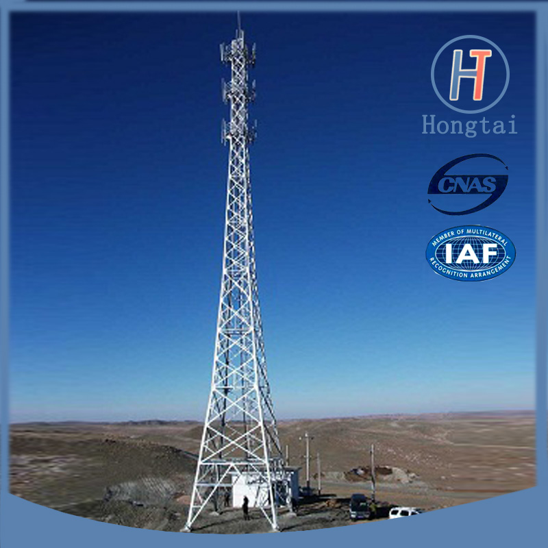 Sold 55m Q345B galvanized telecom angle steel tower