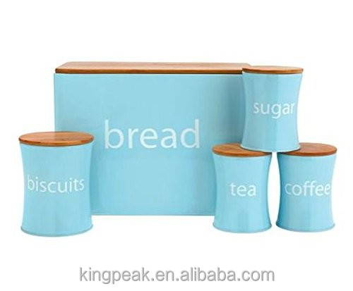 2019 Hot Nieuwe Brood Bin Biscuit Thee Koffie Suiker Pot set/Brood doos Thee koffie cookies bus set met snijplank deksel
