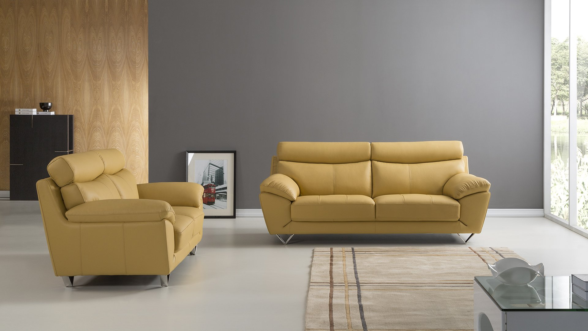 American Eagle Furniture 2 Piece Valencia Collection Complete Italian Leather Living Room Sofa Set, Yellow