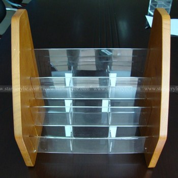 Clear Acrylic With Wooden Brochure Holders9 Pocket Wooden Leaflet Holders3 Tiers Acrylic Brochure Dispenser Buy Clear Acrylic With Wooden Brochure