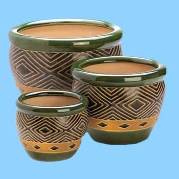 3 Set of Green round Geometric Design Ceramic Flower Pot