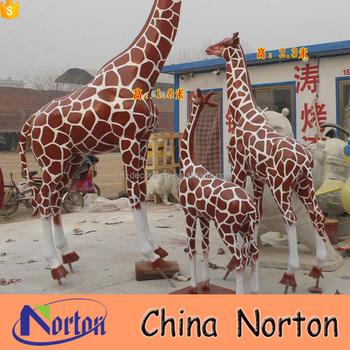 Garden Decor Colorful Life Size Fiberglass Giraffe Statue NTRS CS868A