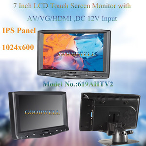 2016 New 1024x600 7 Inch LCD Touch Screen Monitor IPS Panel AV/VGA/HD Input with Bracket