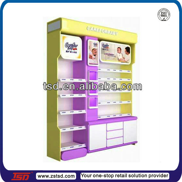 Tsd-w815 Retail Shop Pos Floor Wooden Milk Product Display Stand ...